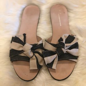 Anthropologie knotted bow slide sandals
